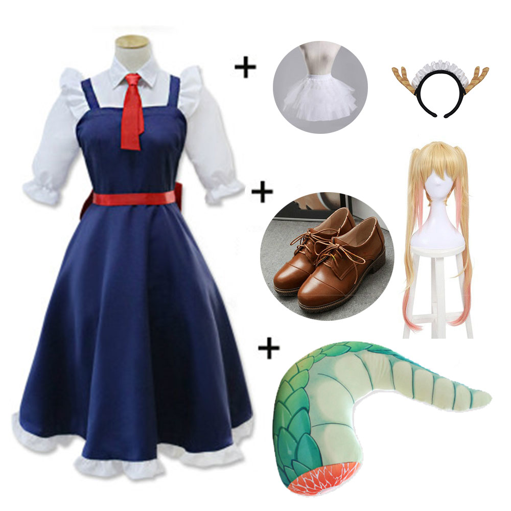 DUOUPA Anime Miss Kobayashi's Dragon Maid Tohru Cosplay Costume Tohru With Wig Kanna Cosplay Party Cosplay Costumes Lolita Dress