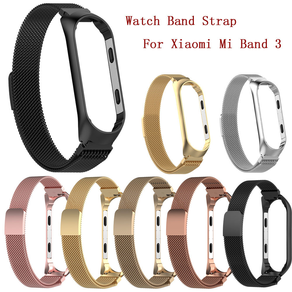 Watch Band Stainless Steel bracelet strap For Xiaomi Mi Band 3 Large Milanese Magnetic Watch Band Strap For Xiaomi Mi Band 3 xiaomi mi band 3 strap черный
