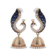 Retro Indischen Bollywood Kundan Pfau Jhumka Jhumki Drop Ohrringe Gypsy Schmuck(China)