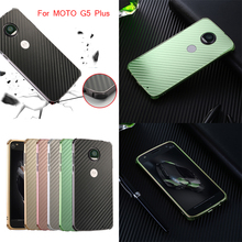 For Motorola MOTO G5 Plus Case Aluminum Metal Frame+Carbon Fiber Cover for Moto Cedric XT1670 XT1671 XT1675