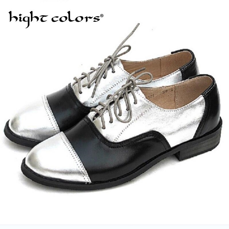 Fashion British Style Gold Sliver Mixed Color Genuine Leather Flat Shoes Woman Lace Up Big Size