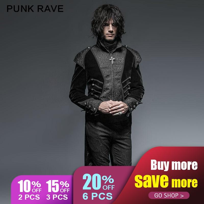 PUNK RAVE Gothique Unique Asymétrie Machaon Hommes Manteau Rétro Rock Visual Kei Steampunk Parti veste noire
