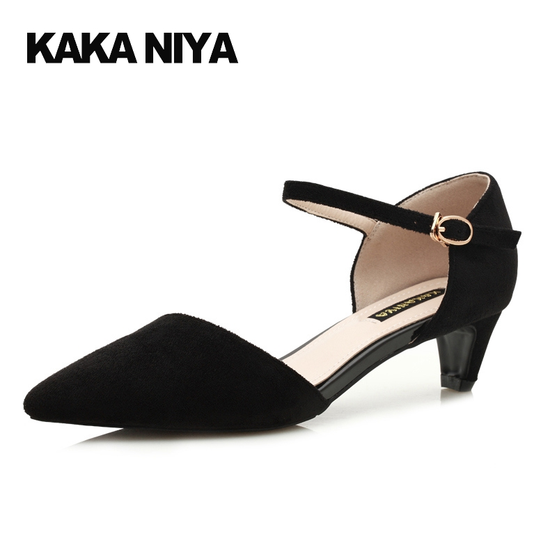 deb8bdff07 2017 Low Ladies Kitten Heel Shoes Pumps Pointed Toe 5cm 2 Inch Strap Footwear  Women Vintage