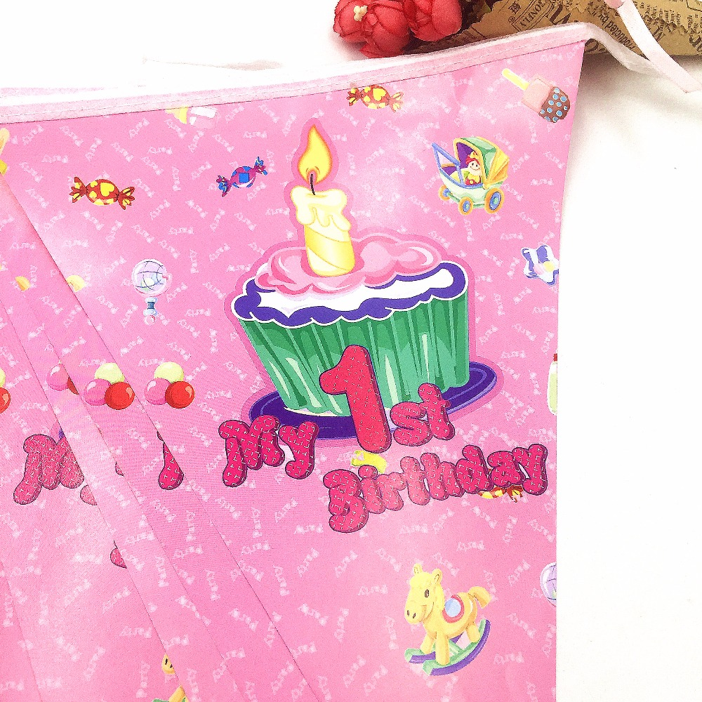 2 5m set My 1st Birthday Party Supplies Pink Paper Banner Flag Kids Birthday Baby Shower Fovers Girls Paper Flag Party Supplies in Banners Streamers Confetti from Home Garden