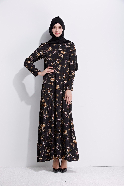 Caftan Marocaine Fashion Women Summer Muslim Dress Black -7579