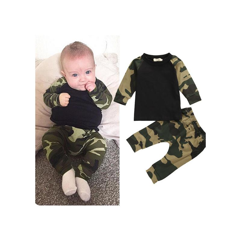 2016 niños recién nacidos conjunto de camuflaje bebés niños ropa de manga larga camiseta Tops + pantalones largos Otoño Conjunto de traje de primavera