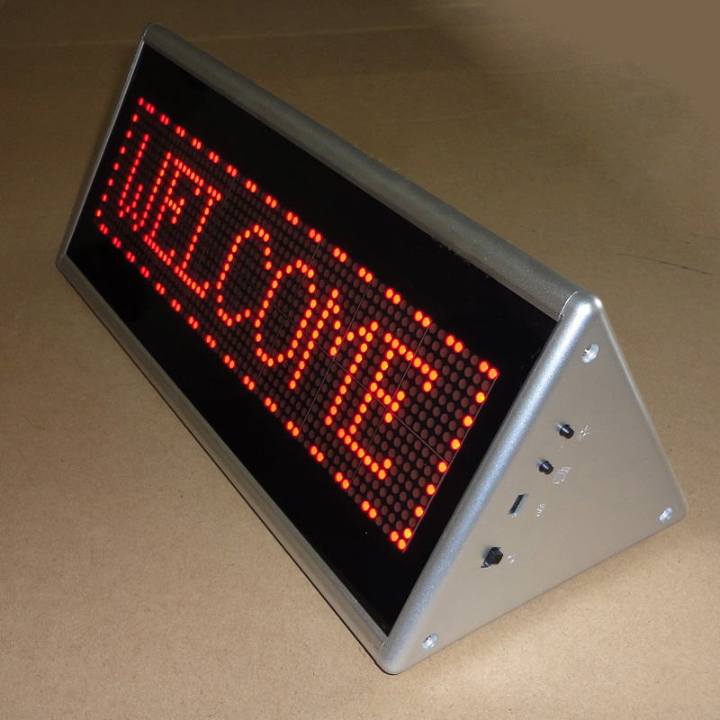 Single Side Triangle LED Programmable Message Scrolling Display Board, Store Desk Led Sign/Digital Bar Screen hot sale 16inch waterproof oil price led digital number display screen sign panel from china