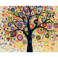 DEYI 40*50cm Hand Oil Painting Flower World Decorative Linen Painting Framed Mirrors Wall Art For Living Room 4050540