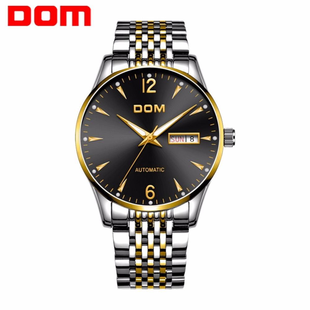DOM Top Brand Luxury Mechanical Automatic Mens Watches Stainless Steel Casual Fashion Waterproof Business Watch Men