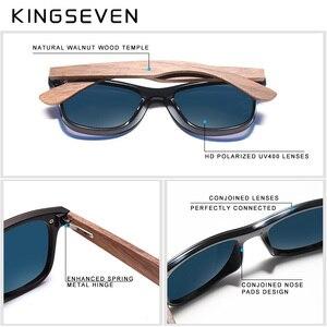 Image 4 - Kingseven 2019 럭셔리 호두 나무 선글라스 편광 된 나무 브랜드 디자이너 무테 미러 된 사각형 태양 안경 여성/남성