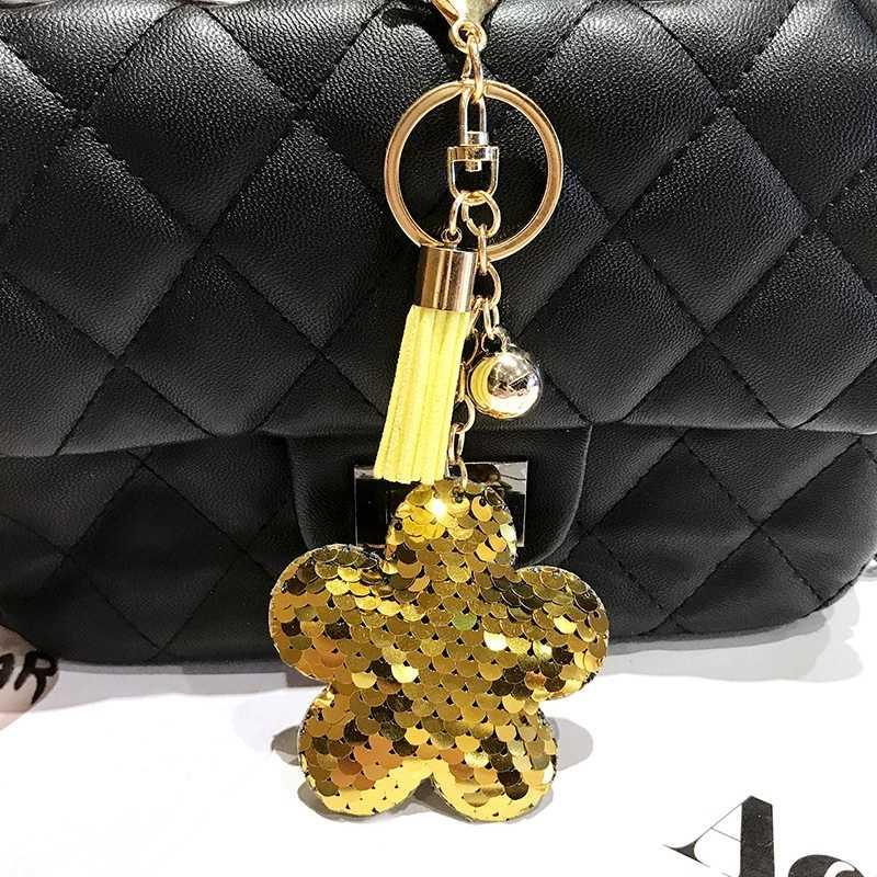 Блеск цветок брелки Bling пайетки цветения сливы Ключ Кольца Брелоки очарование автомобиль Сумки аксессуары для дамских сумочек для девочек Для женщин