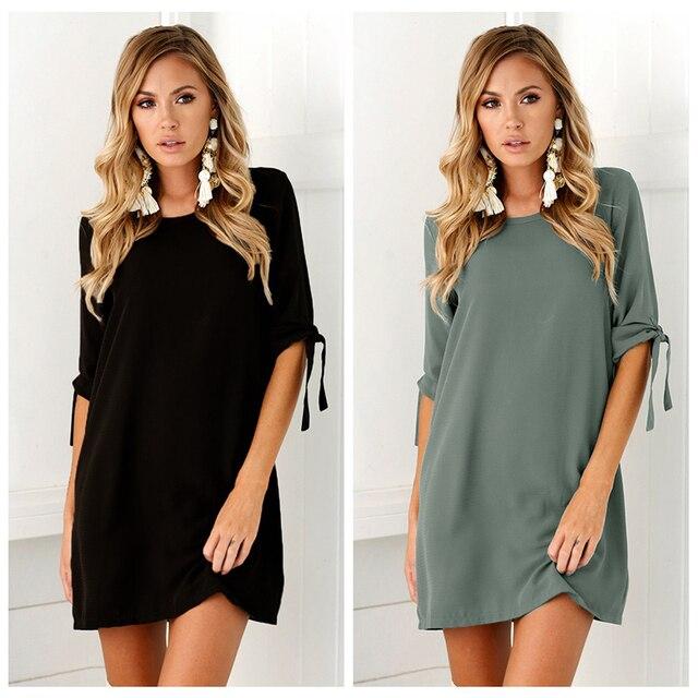 2019 Women Casual Shirt dress Vestidos Summer O-Neck Short Sleeve Parties Slim Mini