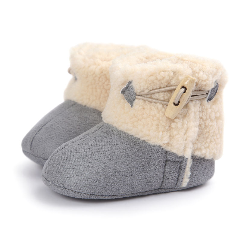 Genuine Winter PU Leather Baby Boots Infants Keep Warm Shoes Fur Wool Girls Baby Booties Baby Boy Fur Sheepskin Baby Boots