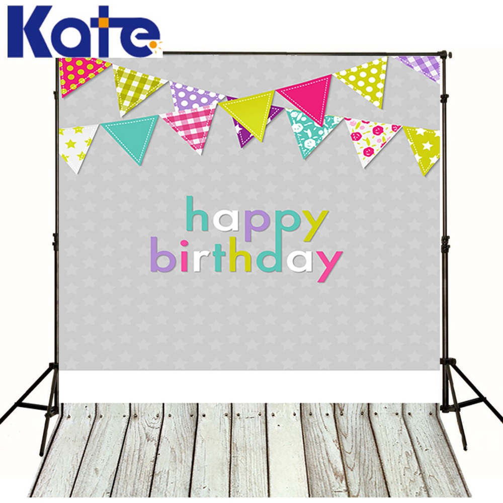 Kate Customize Happy Birthday Photography Colorful Flags Backdrop Photography Wood Floor Photography For Baby Photo Bckdrop сумка kate spade new york wkru2816 kate spade hanna