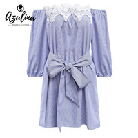 AdalisaSexy Off Shoulder Blue White Striped Mini Dress Women Plus Size Elastic Casual Applique Party Dress