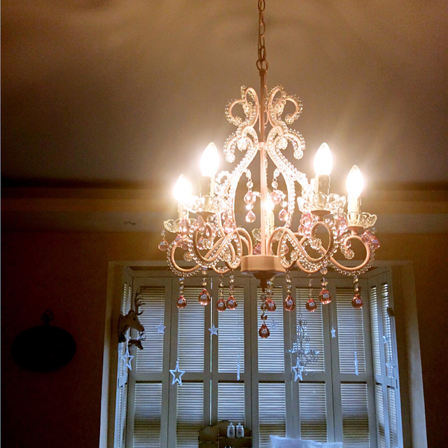 European Children S Crystal Chandelier French Garden Restaurant Light Pink Wedding Room Lamp Princess Bedroom Chandeliers