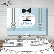Sensfun Newborn Baby Shower Backdrop White Light Blue Striped Belts Bow Moustache Boys Birthday Party Backgrounds Photocall