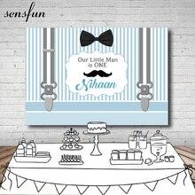 Sensfun nouveau né bébé douche toile de fond blanc bleu clair rayé ceintures Bow Moustache garçons anniversaire fête arrière plans Photocall