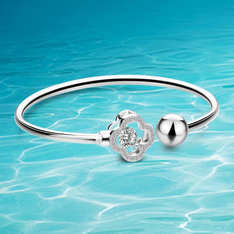 Real 925 Sterling Silver Bracelet Women Fashion Bangle Bracelet Solid 925 Sterling Silver Four-Leaf Clover Zircon Single Bangles solid 925 sterling silver flower fashion charm biker bracelet bangle 9a017