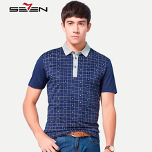 Seven7 Spring Summer Men Polo Shirts Plaid Geometric Pattern Printed Performance Casual Polo Shirts Men Fashion Tops 110T58250
