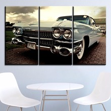 On Canvas Print Style Picture Modern Wall Home Decorative One Set 3 Pieces Classic Vintage Car Front View Modular Artwork Poster