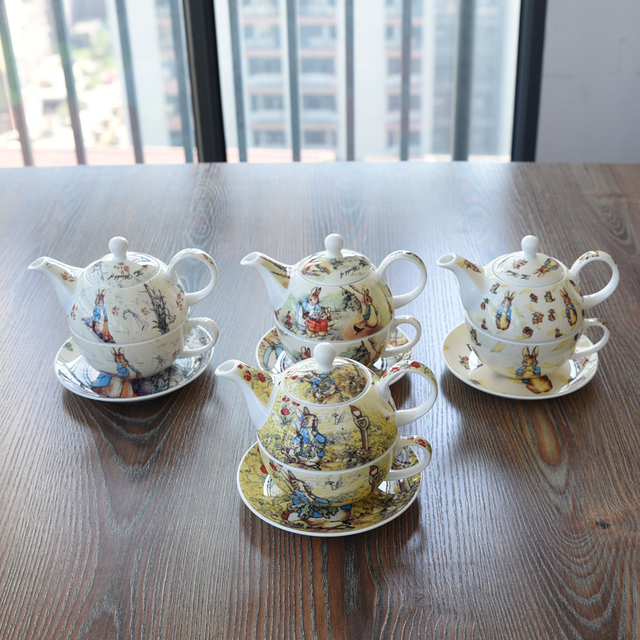 Best Quality England Peter Rabbit Single Coffee Afternoon Tea Cup Saucer Pot Sets Solo Lovely Cartoon