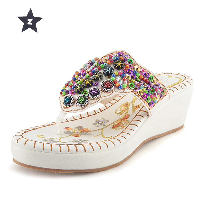 Z Summer Sandals Flip Flops Women Wedges Platform Sandals Women Rivet Rhinestones Beach Slippers Women Shoes