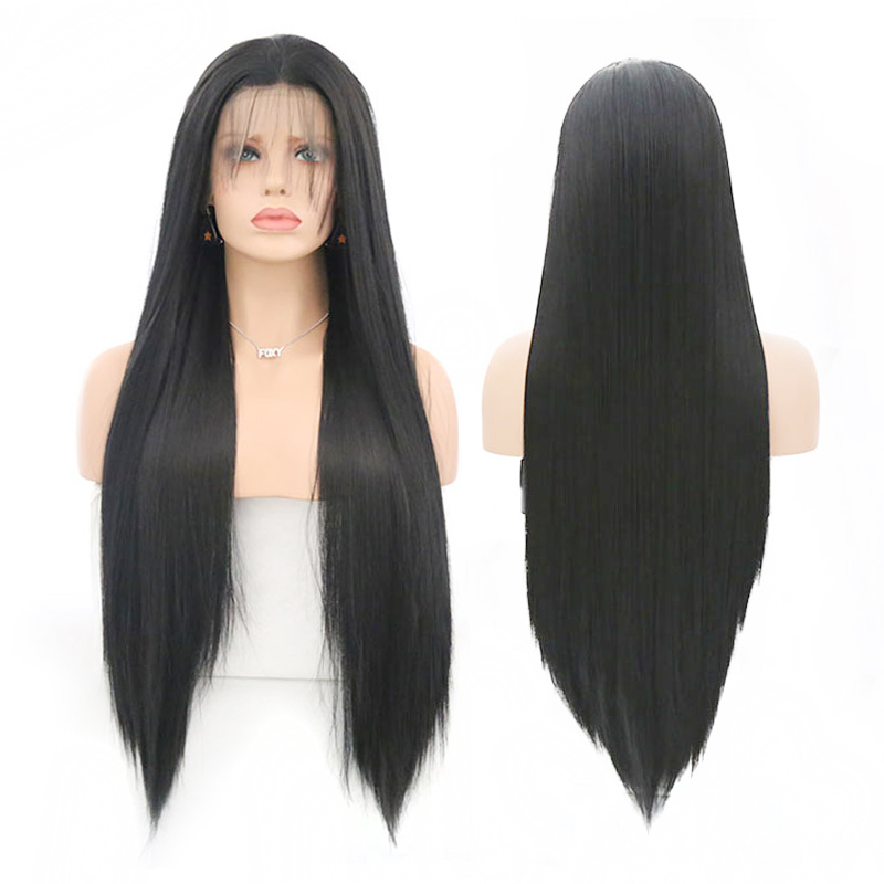 Charisma Long Silky Straight Synthetic Lace Front Wig Glueless Heat Resistant Hair Wigs With Baby Hair