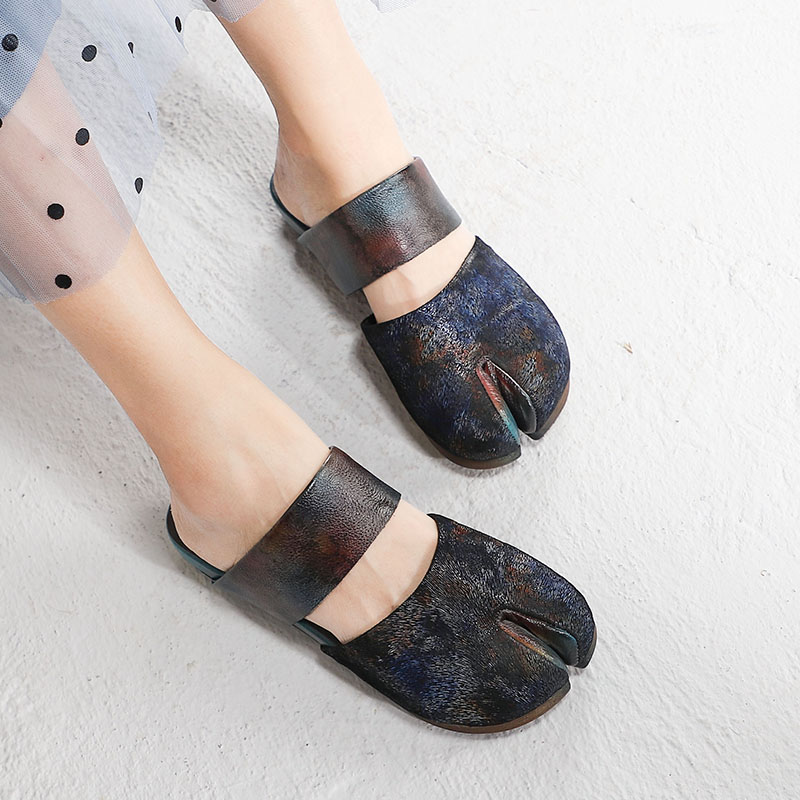 Closed Toe Summer Slippers Shoes For Women Vintage Flat Heels Natural Leather Original Design Female Cover Toes Lady Slides