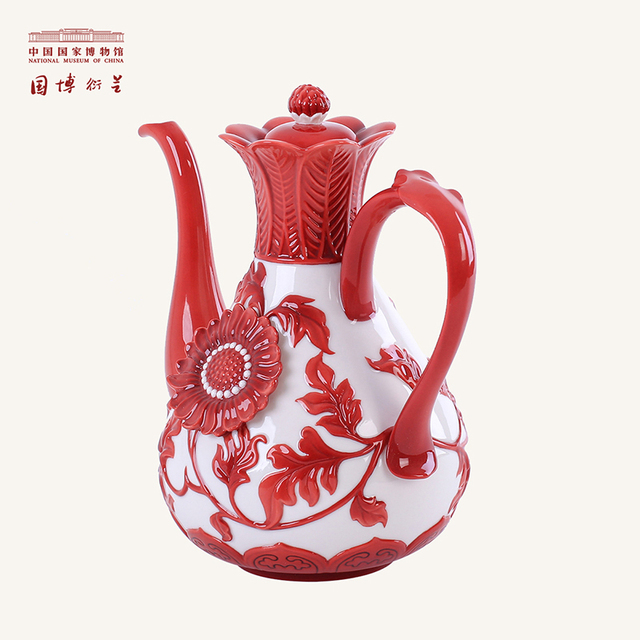 NATIONAL MUSEUM OF CHINA Brand Elegant Floral Pattern Porcelain Teapot Chinese Ceramic Kettle High Quality Home Decor Teapot