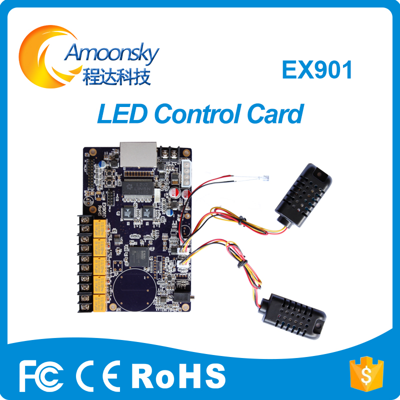 Linsn Ex901d Led Multi Function Card LED Sign Board Humidity And Temperature Detection Replaced By Ex902d
