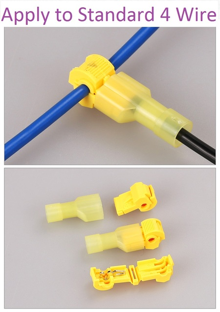 10pcs/lot L11 Yellow T Type Quick Splice Crimp Terminal Wire Convenient Connector For Standard 4 Wire Line Free Shipping