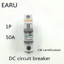 1P 50A DC 250V DC Circuit Breaker MCB for PV Solar Energy Photovoltaic System Battery C curve CB Certificated Din Rail Mounted