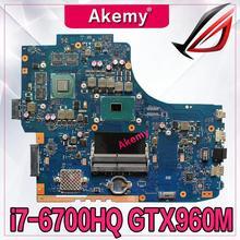 Akemy GL752VW материнская плата для ASUS GL752VW материнская плата для ноутбука GL752V GL752 процессор I7-6700HQ Протестировано 100% работа оригинальная плата