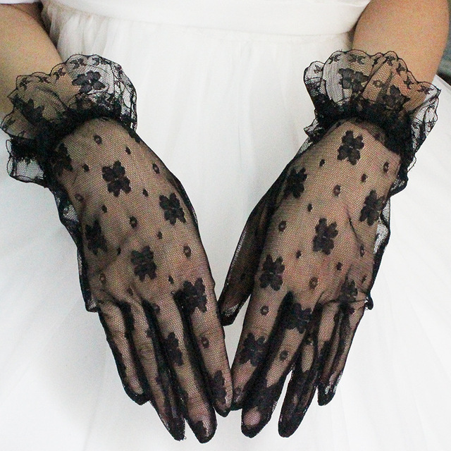 Multiple Colour Elastic Mesh Cloth Party Formal Etiquette Glove Women Nightclub Sexy Short Lace Princess Erotic Dance Gloves A71 3