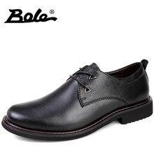 BOLE Fashion Italian Design Business Casual Shoes Men New Handmade Genuine Leather Men Shoes High Quality Lace Up Shoes Men Flat