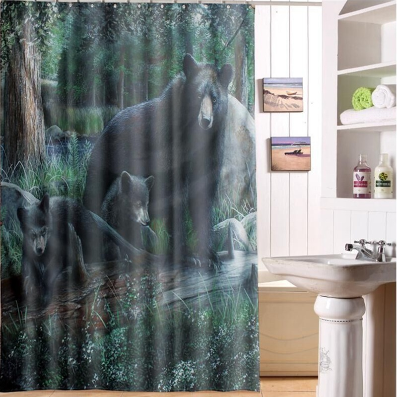 Hot Sale 180cm X Black Bear Cubs Shower Curtain Panel Sheer Polyester Fabric Bathroom Hooks Set Decor In Curtains From Home Garden