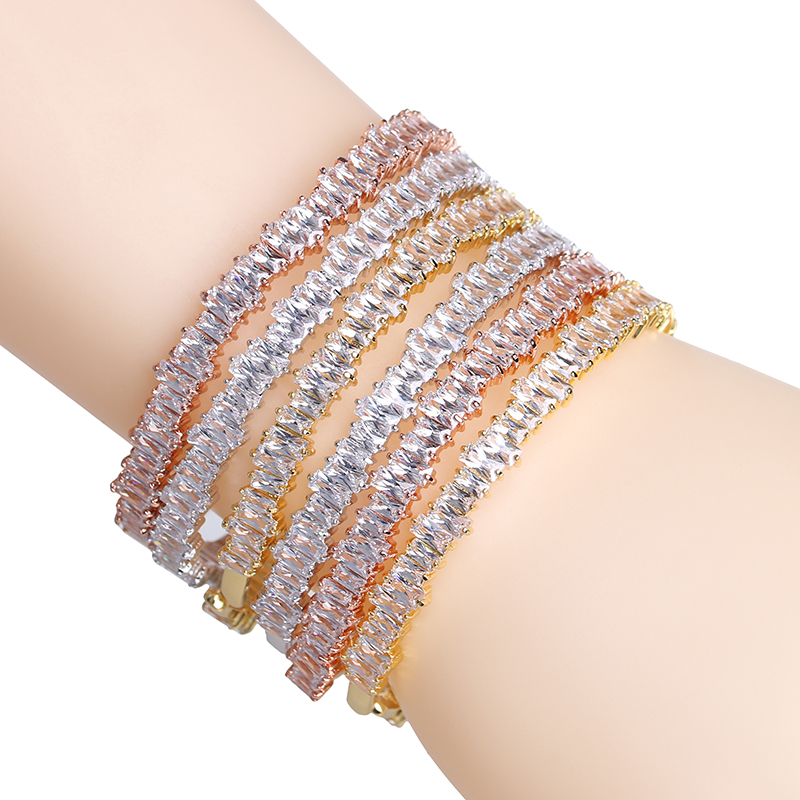 New Famous Brand Rose Gold Bangles AAA+ Cubic Zirconia Stone Cuff ...