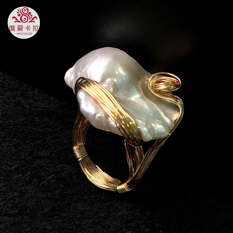 WEICOLOR DIY! Beliebte Hand made Barock Süßwasser Perle Ring Mit Gold Gemischt, Kontaktieren für Größe.