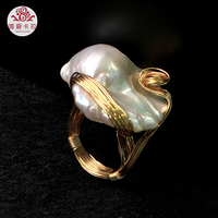 WEICOLOR DIY ! Popular Hand made Baroque Freshwater Pearl Ring With Gold Mixed ,Contact for Size.