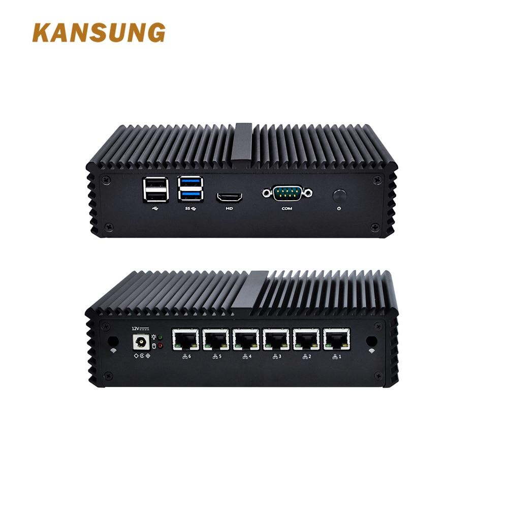 KANSUNG Intel Celeron 3865U Mini PC 6 Lan Pfsense AES-NI Router Firewall Windows Linux DDR4 Industrial Fanless Mini pcKANSUNG Intel Celeron 3865U Mini PC 6 Lan Pfsense AES-NI Router Firewall Windows Linux DDR4 Industrial Fanless Mini pc