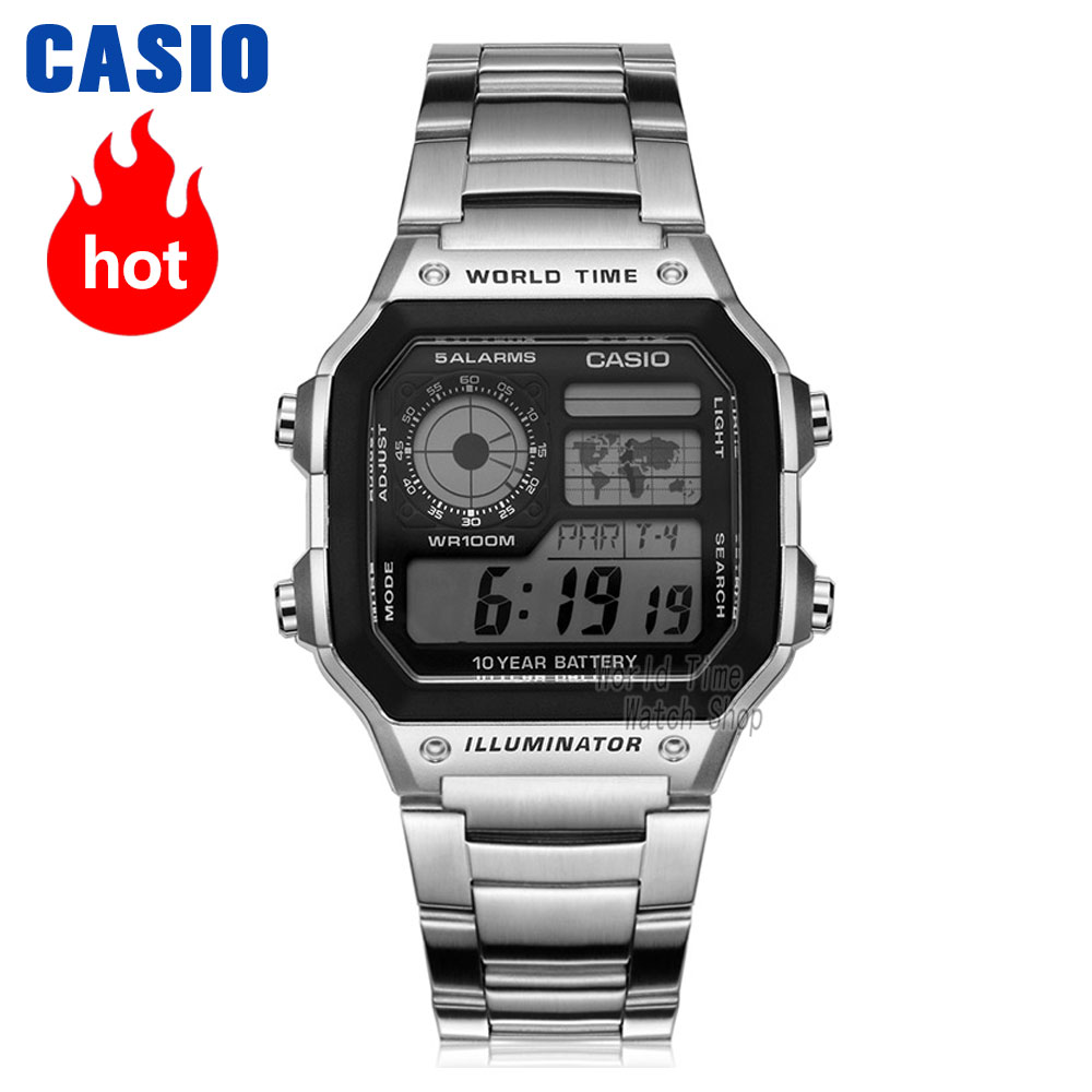 Casio montre analogique hommes montre de sport Quartz mode bracelet en acier résine bracelet rétro carré montre AE-1200WH AE-1300WH