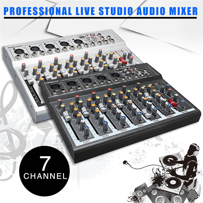 Mini Professional USB Mixing Console 7 Channel Live Studio Audio Mixer KTV 48V Network Anchor Sound Card Sound Console Mixer