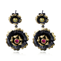 Spring 2017 Fashion Flower Pendant earings Siam Red & Olivine Cubic Zircon High Quality Gold and Black Earrings for Party women
