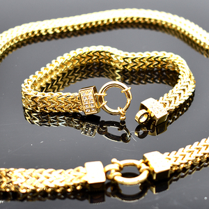Image 2 - AMUMIU 2020 new arrival Men Chain Necklace Bracelet Sets Special Lock Stainless Steel Snake Women gold Color Jewellery HZTZ125