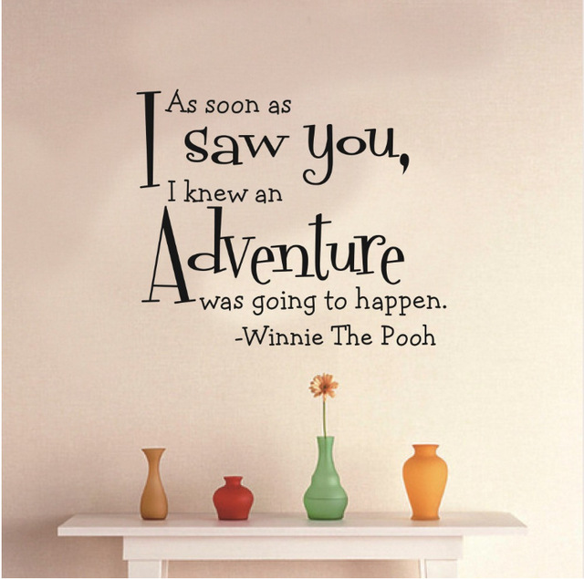 AS SOON AS WINNIE Wall Sticker Removable Vinyl Decals Art Letters Stickers  Transparent Quote Wallpaper Home