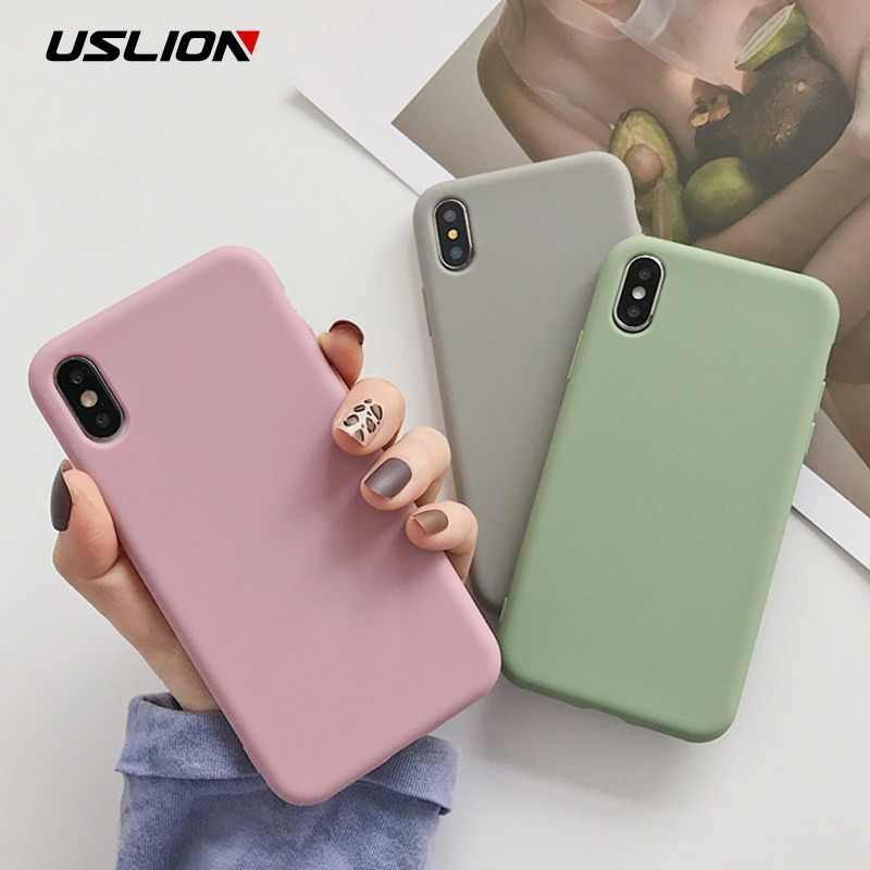 USLION Candy Color Phone Case For iPhone XS Max XR XS X 8 Plus Simple Plain Silicone Cover For iPhone 6 6S 7 Plus Soft TPU Case