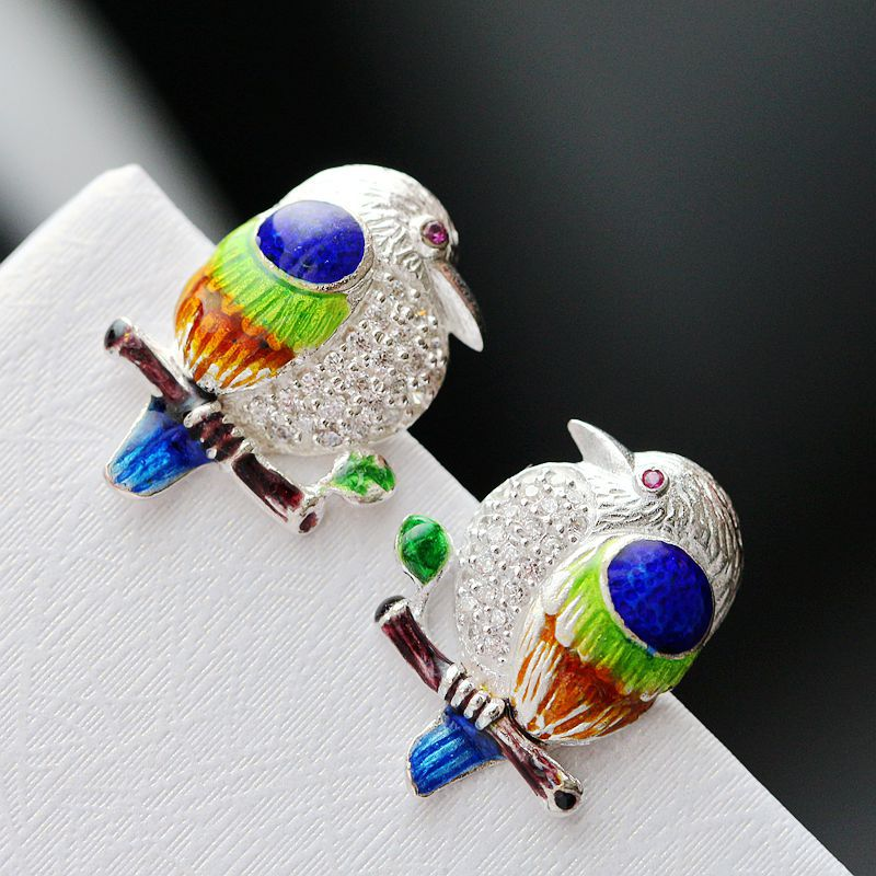 auger 925 sterling silver earrings riches and honour bird earrings handmade cloisonne earrings restoring ancient ways restoring grace page 1