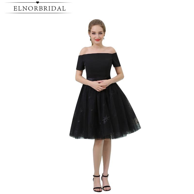 Sexy petites robes noires 2019 hors De l'épaule dentelle Cocktail robe De soirée au genou longueur Vestido De Festa Curto De Luxo robes De soirée