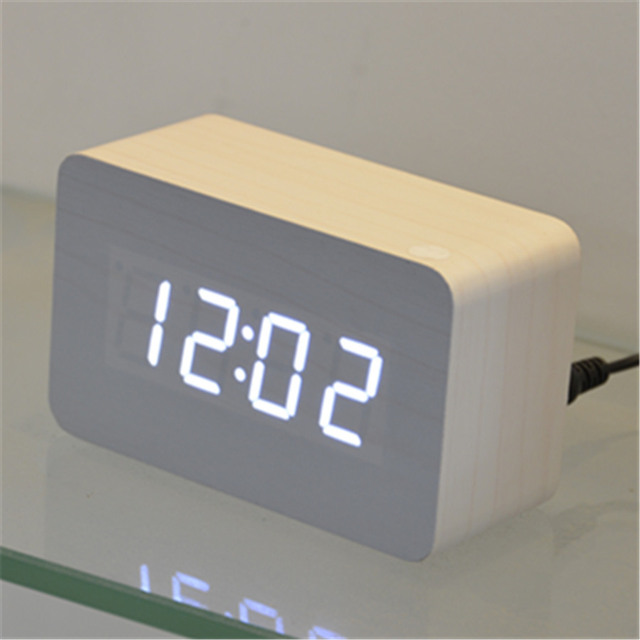 wood Wooden digital LED Clock bedroom Mini square desktop clocks